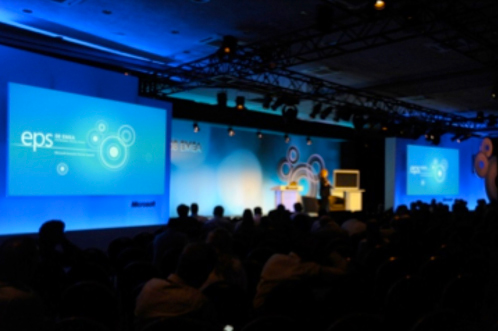The plenary session at the Microsoft EMEA Executive Summit was attended by 650 delegates